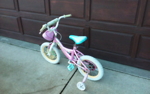 LIL PRINCESS 2 WHEEL PEDAL CRUISER WITH TRAINING WHEELS!!