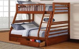 Bunk Bed - Twin over Double with 2 Drawers Solid Wood - Honey Honey