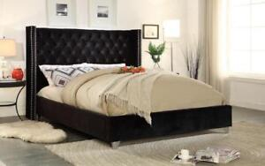 Platform Bed with Velvet Fabric - Black King / Black / Velvet Fabric
