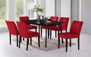 Kitchen Set with Solid Wood - 5 pc or 7 pc - Espresso | Red 7 pc Set / Espresso | Red