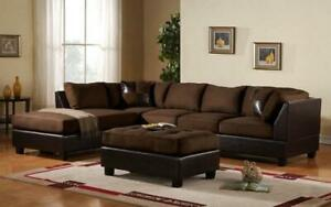 Fabric Sectional Set with Reversible Chaise and Ottoman - Chocolate | Brown Chocolate | Brown Canada Preview