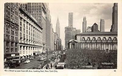 RPPC 42nd STREET FROM 6th AVE. NEW YORK CITY REAL PHOTO POSTCARD (c. 1940s) 42nd Street Photo