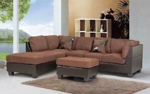 Fabric Sectional Set with Reversible Chaise and Ottoman - Light Chocolate | Brown Light Chocolate | Brown