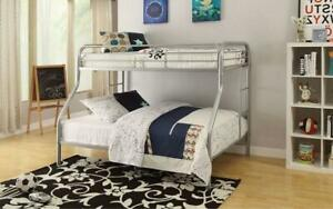 Bunk Bed - Twin over Double with Metal - Black   White   Grey Grey