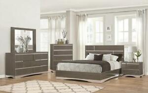 Bedroom Set with Mirror Accents High Gloss Head Board 8 pc - Grey King / Grey