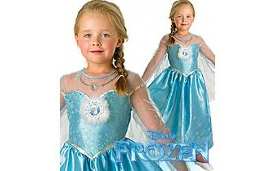 Childs Elsa Deluxe Costume, OFFICIAL Disney Frozen, Small, Medium & Large - Elsa Kostüm Medium