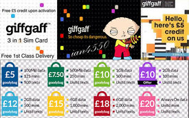 GIFFGAFF FREE £5 CREDIT MOBILE PHONE PAY AS YOU GO SIM CARD O2 NETWORK WiFi