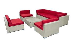 Outdoor Sectional Set - 7 pc (Grey & Red) Grey & Red