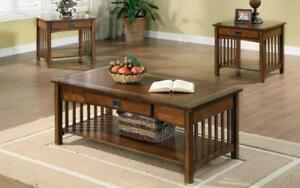 Coffee Table Set with Drawer & Shelf - 3 pc - Walnut Walnut