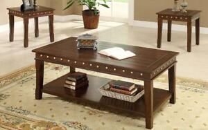 Coffee Table Set with Nail Heads - 3 pc - Walnut Walnut
