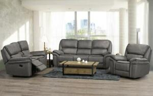 Recliner Set - 3 Piece with Micro Suede Fabric - Smoke 3 pc Set / Smoke