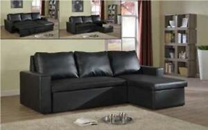 *** BRAND NEW *** HUGE SALE *** SECTIONAL SOFABED WITH REVERSIBLE CHAISE (BLACK)***LIMITED STOCK****