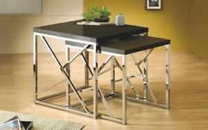 Nesting Table High Gloss Lacquer Top with Chrome Leg - 2 pc - Black | White Black