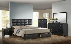 Bedroom Set with Tufted Leather Head Board 8 pc - Black King / Black