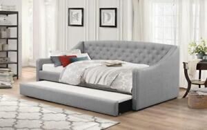 Fabric Day Bed with Nailhead Accents and Twin Trundle - Grey Day Bed