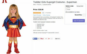 Super Girl costume 2t/4t - like new! only $10