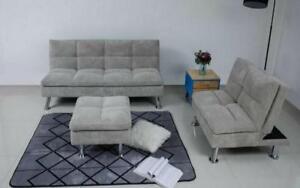 Fabric Sofa Bed Set - 3 pc - Grey Grey