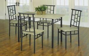 Kitchen Set Solid Wood - 5 pc - Black | Oak 5 pc Set / Black | Oak