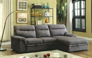 Elephant Skin Sectional Sofa Bed with Left Side Or Right Side Chaise - Grey Right Side Chaise / Grey