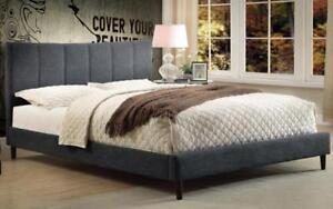 Platform Bed with Linen Style Fabric - Grey Queen / Grey / Linen Style Fabric