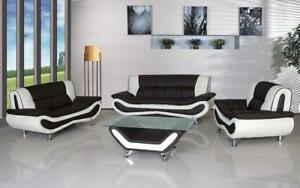 Sofa Set - 4 Piece - Black | White Black | White