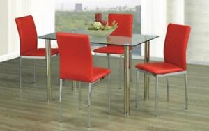 Kitchen Set with Glass Top - 5 pc - White | Black | Red 5 pc Set / Red