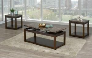 Coffee Table Set with Marble Lift Top - 3 pc - Brown | Brown 3 pc Set / Brown | Brown