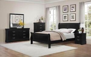 Sleigh Bedroom Set 8 pc - Black King / Black