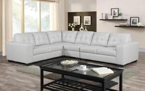 Leather Sectional Reversible Chaise - White White