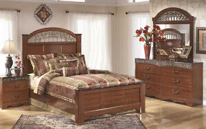 Queen Size Modern Bedroom Set + Side table + Mirror Dresser