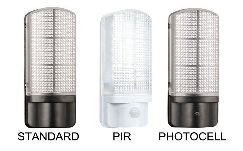 outdoor 7 watt led bulkhead wall light integrated led photocell pir