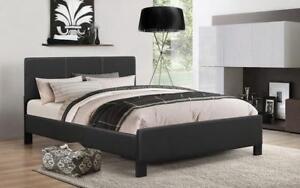 Platform Bed with Bonded Leather - Black Queen / Black / Bonded Leather
