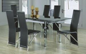 Kitchen Set with Glass Top with Extendable Leafs - 7 pc - Chrome | Black 7 pc Set - Solid Chair / Chrome | Black