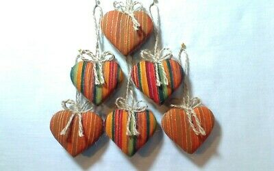 Miniature Fall Heart Ornaments | Party Favors | Tree Decorations | Set/6 | #1