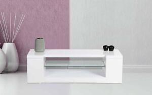TV Stand with Glass Shelf - White White