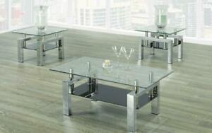 Coffee Table Set with Glass Top with Shelf - 3 pc - Chrome 3 pc Set / Chrome