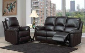 Recliner Set - 3 Piece - Bonded Leather [Black] 3 pc Set / Black