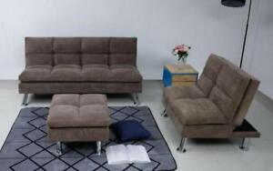 Fabric Sofa Bed Set - 3 pc - Brown Brown