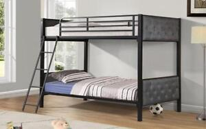 Bunk Bed - Twin over Twin with Metal and Fabric - Black & Grey Black | Grey