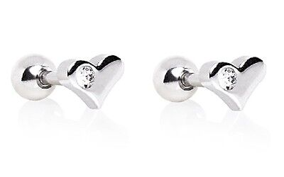 2pc HEART CLEAR Gem Stud Tragus CARTILAGE Helix Conch Ear Rings Piercing Jewelry