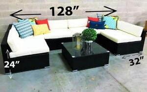 Outdoor Sectional Set - 7 pc (Dark Brown & White) Dark Brown & White