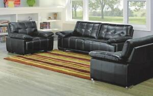 Sofa Set - 3 Piece - Black 3 pc set / Black / Bonded Leather