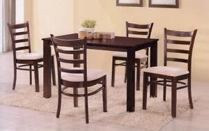 Kitchen Set with Solid Wood - 5 pc - Espresso 5 pc Set - Light Fabric Chair / Espresso