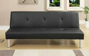 Leather Sofa Bed with Chrome Legs - Black Black