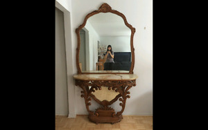 Italian marble table with mirror console
