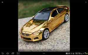 BMW M6 Alloy Diecast Car Model 1:32 Sound&Light Golden New
