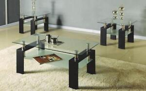 Coffee Table Set with Glass Top with Shelf - 3 pc - Espresso 3 pc Set / Espresso
