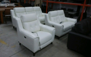Ivory top grain leather set electric recliners