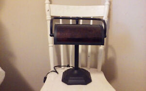 Beautiful Banker's Desk Lamp with Mica shade
