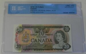 1979 Bank of Canada $20 Note CCCS Certified UNC-65 Gem Unc